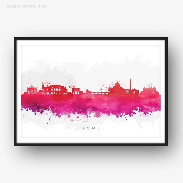 rome skyline red watercolor print