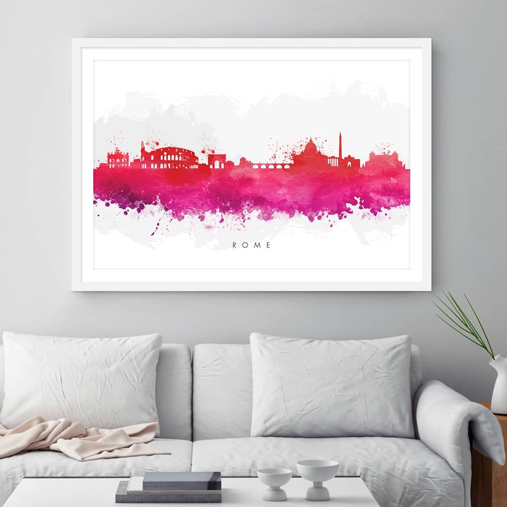 rome skyline red watercolor print framed