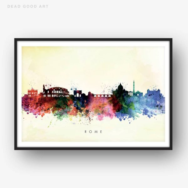rome skyline yellow wash watercolor print