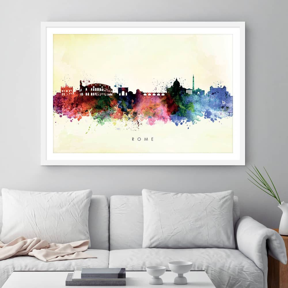 rome skyline yellow wash watercolor print framed