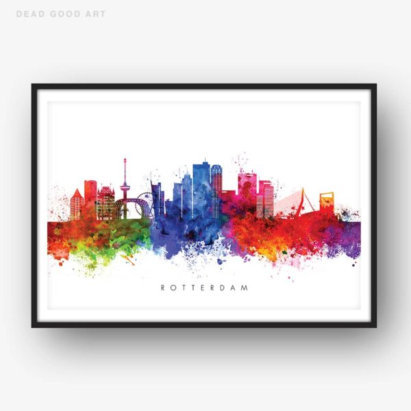 rotterdam skyline multi color watercolor print