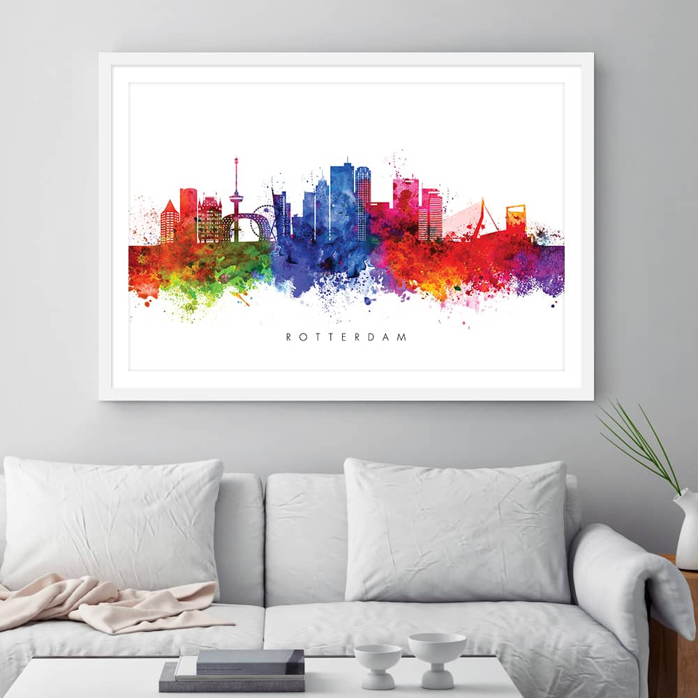rotterdam skyline multi color watercolor print framed