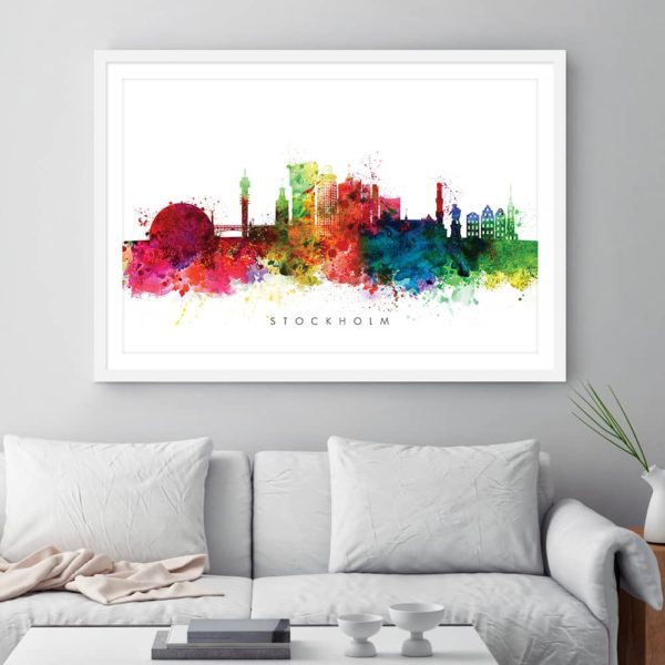 stockholm skyline multi color watercolor print framed
