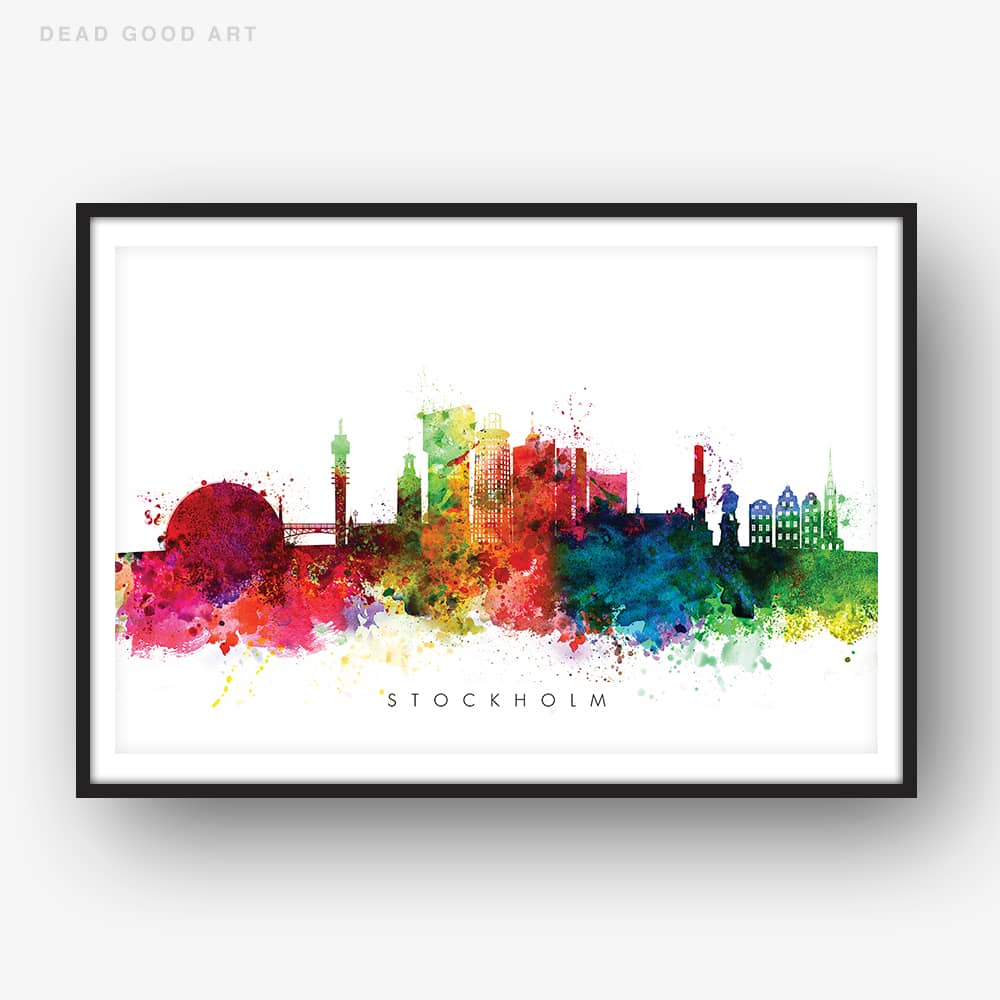 stockholm skyline multi color watercolor print