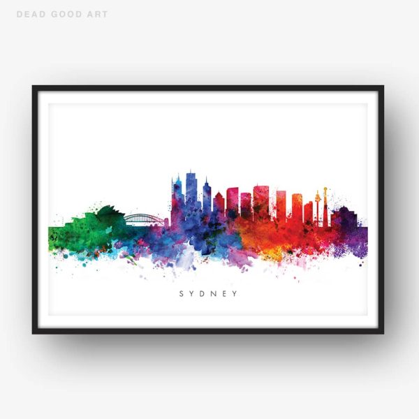 sydney skyline multi color watercolor print
