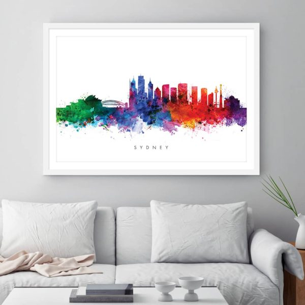 sydney skyline multi color watercolor print framed