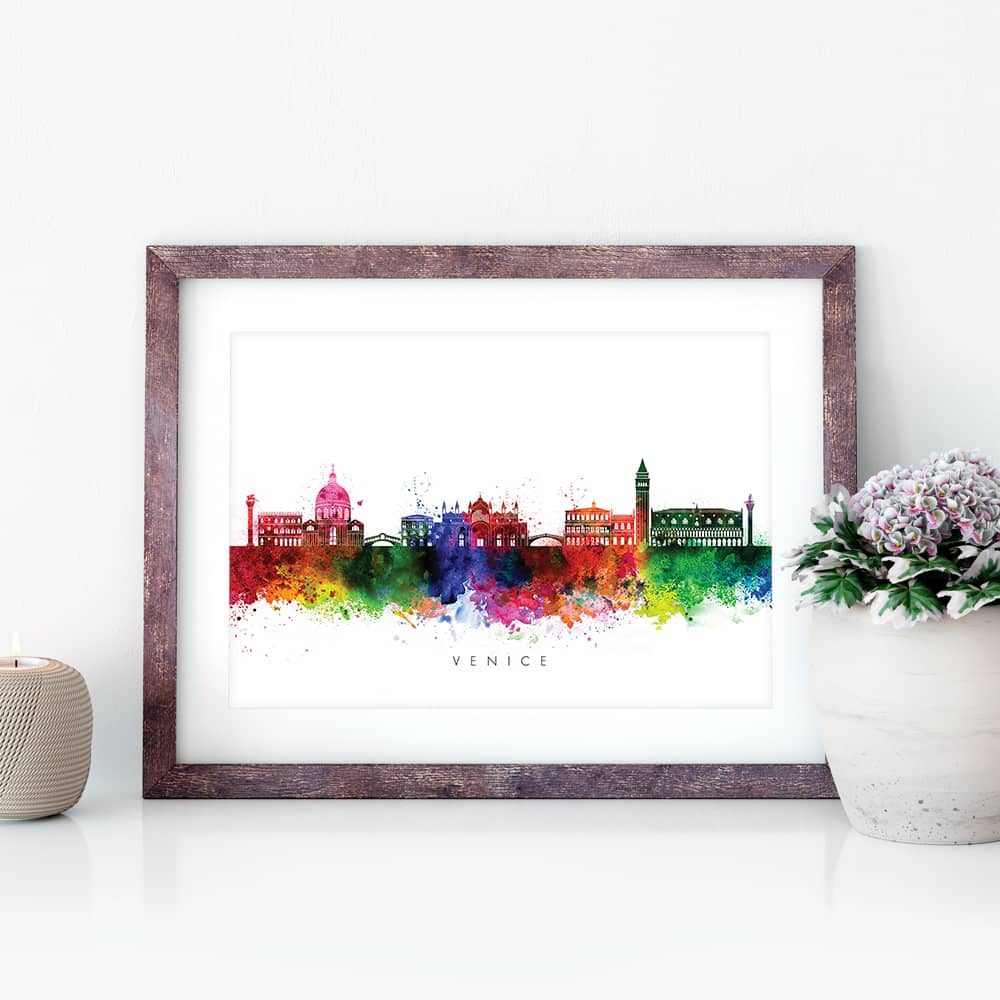venice skyline multi color watercolor print closeup