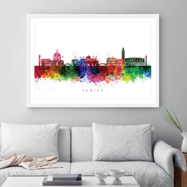 venice skyline multi color watercolor print framed