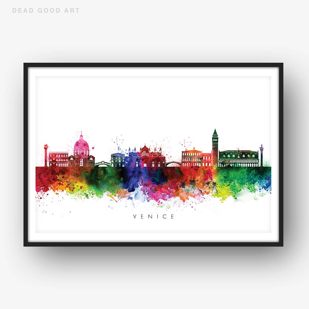 venice skyline multi color watercolor print