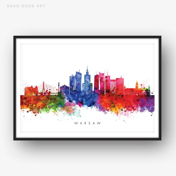 warsaw skyline multi color watercolor print
