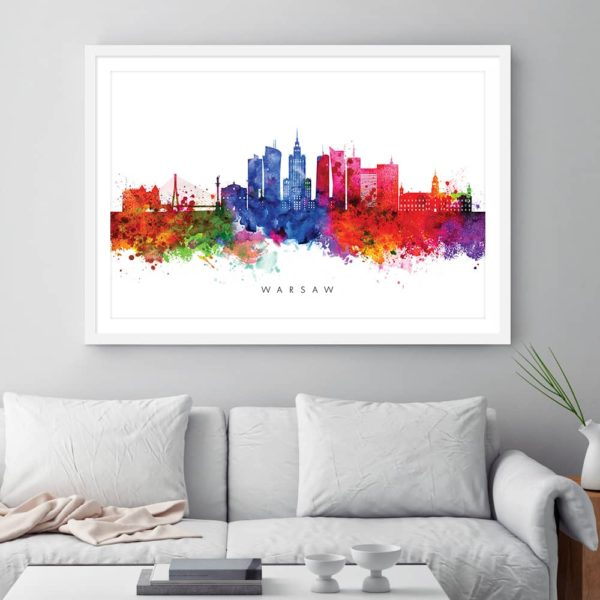 warsaw skyline multi color watercolor print framed