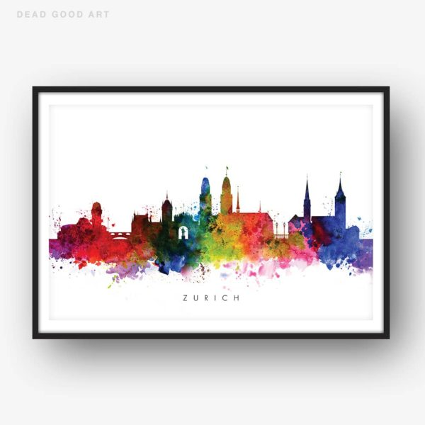 zurich skyline multi color watercolor print