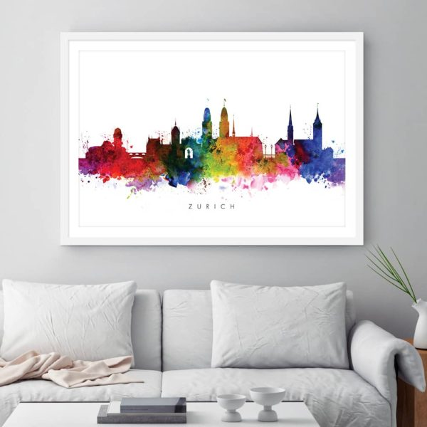 zurich skyline multi color watercolor printframed