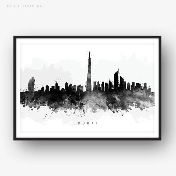 dubai skyline black white watercolor print