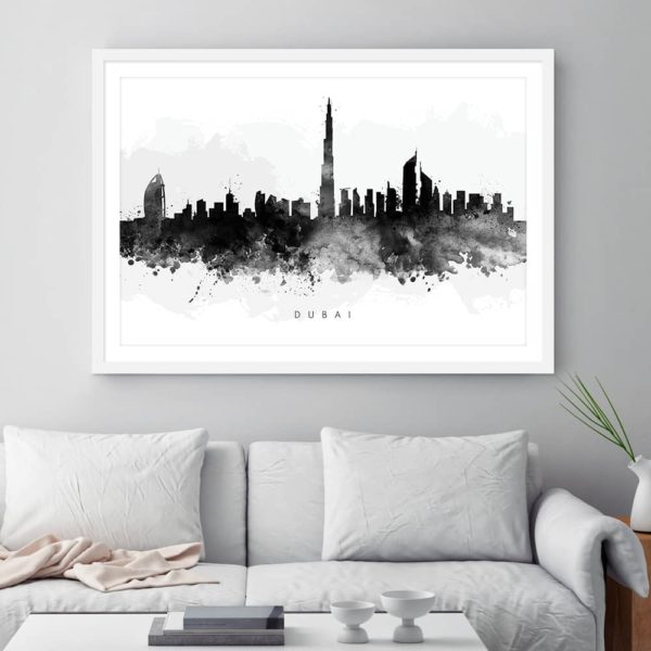 dubai skyline black white watercolor print framed
