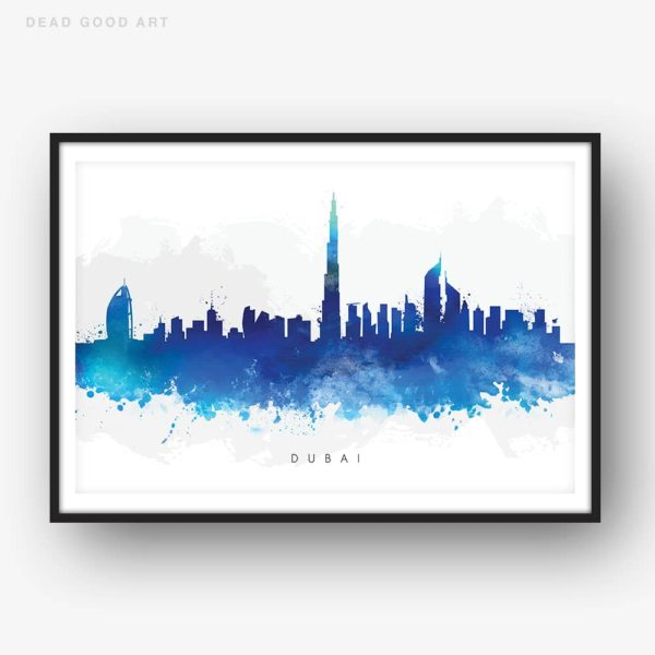 dubai skyline blue watercolor print