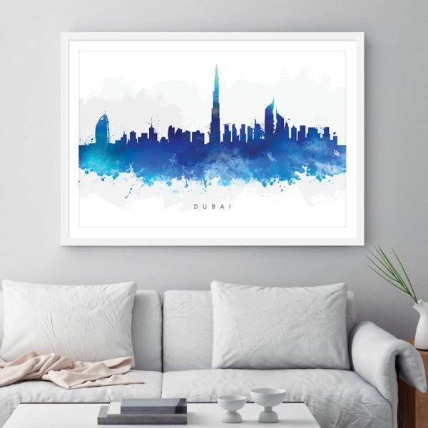 dubai skyline blue watercolor print framed