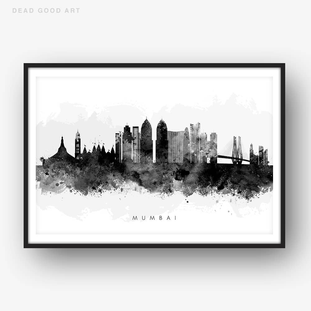 mumbai skyline black white watercolor print