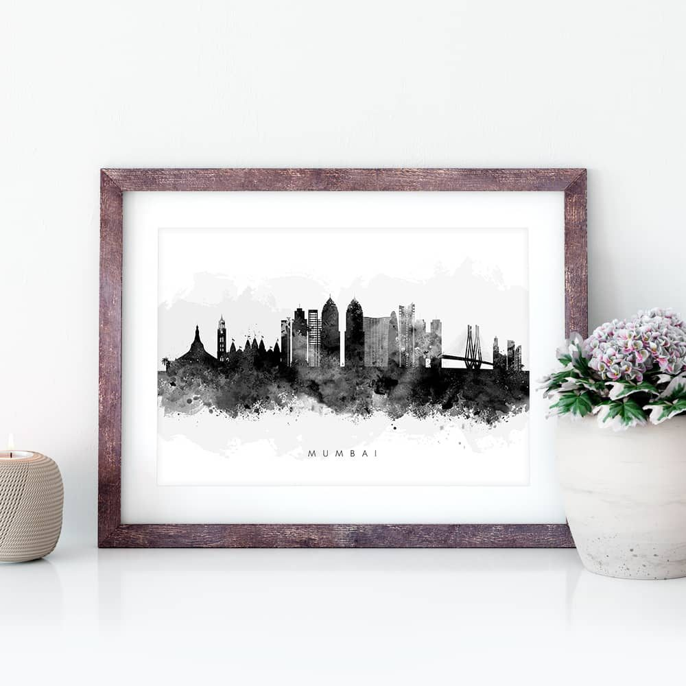 mumbai skyline black white watercolor print closeup