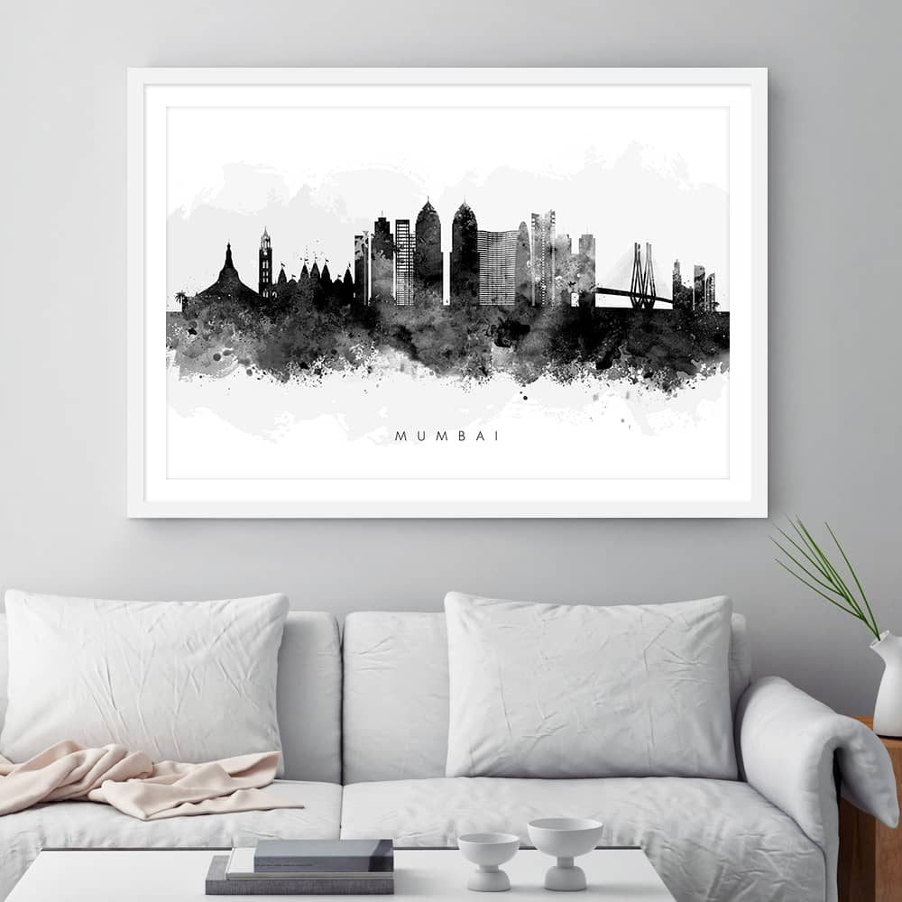 mumbai skyline black white watercolor print framed