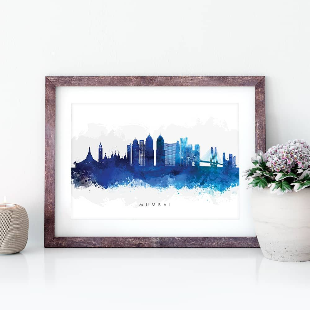 mumbai skyline blue watercolor print closeup