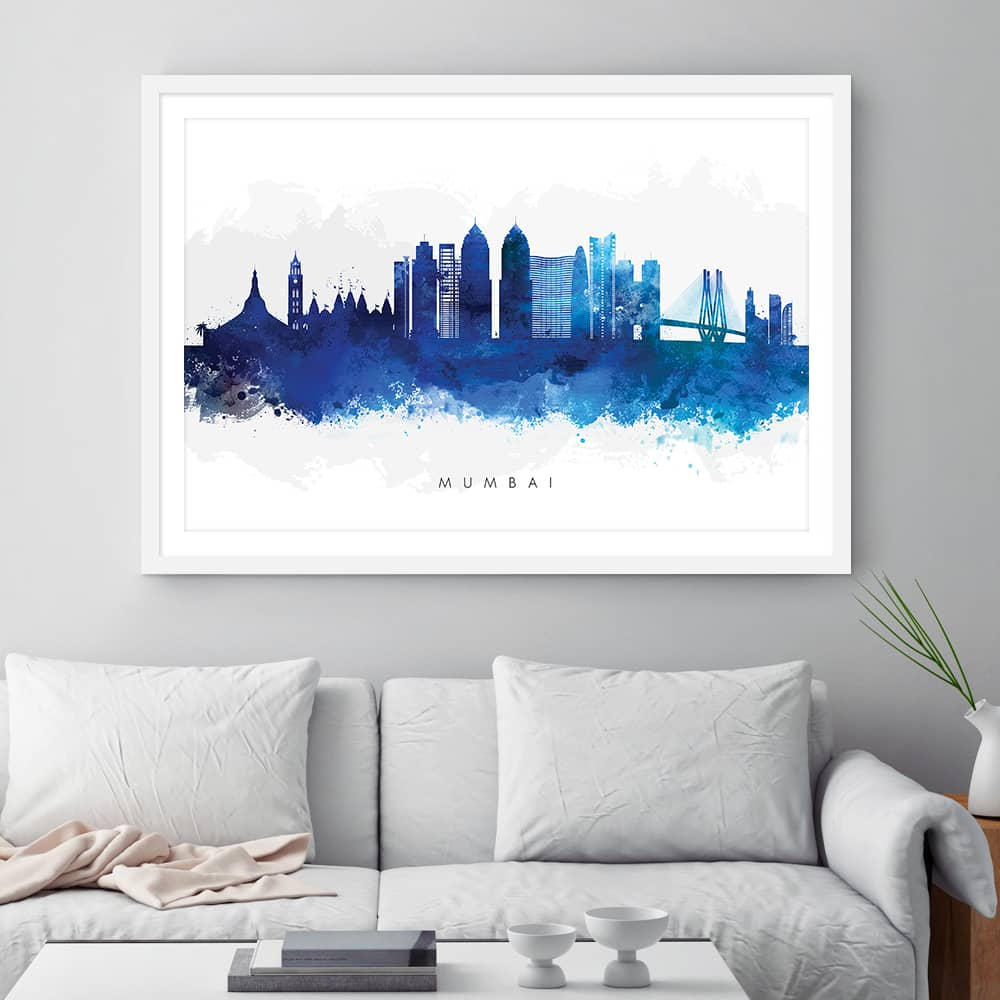 mumbai skyline blue watercolor print framed