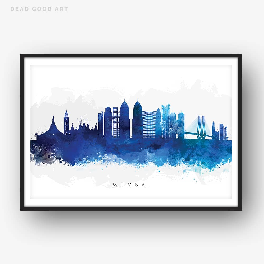 mumbai skyline blue watercolor print
