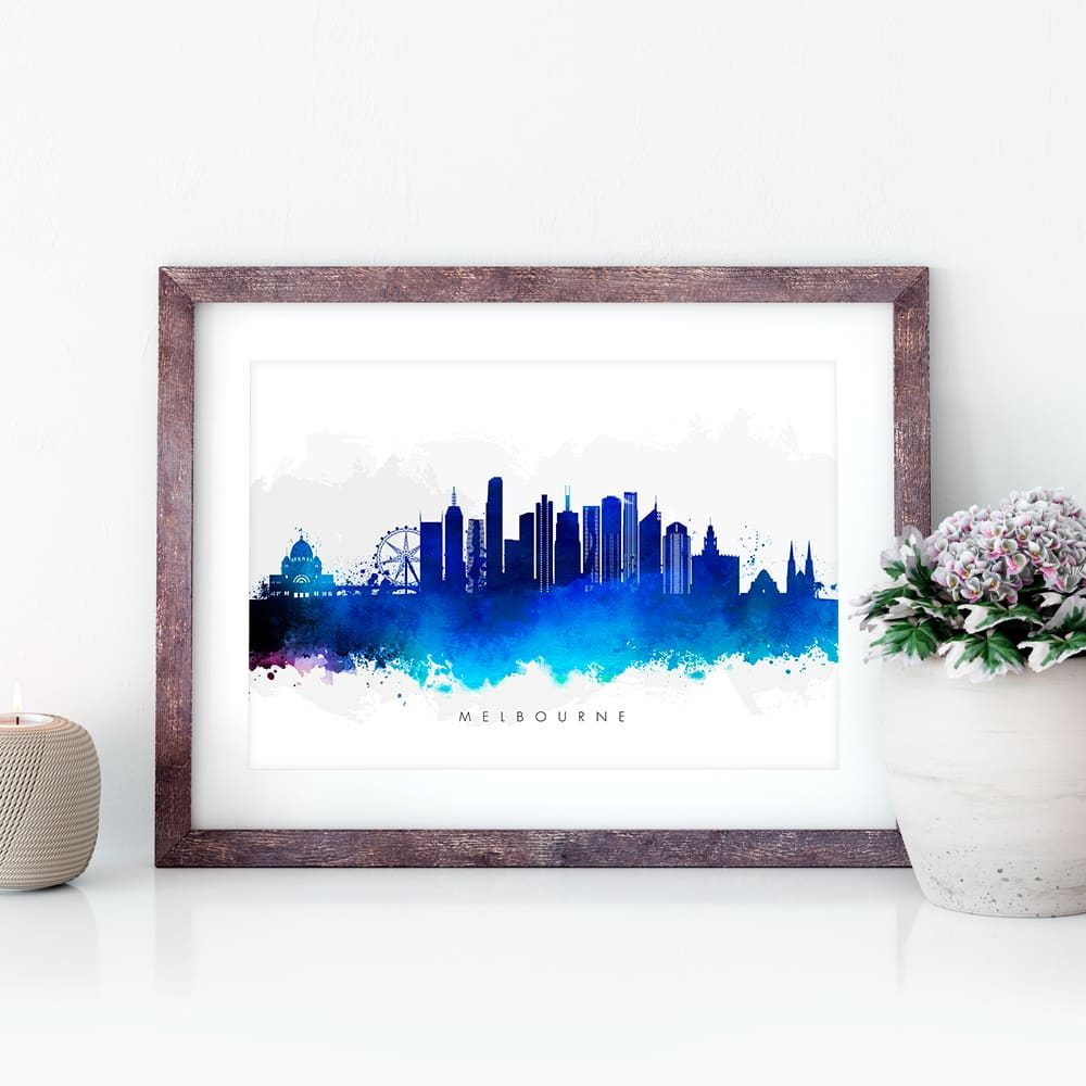 melbourne skyline blue watercolor closeup