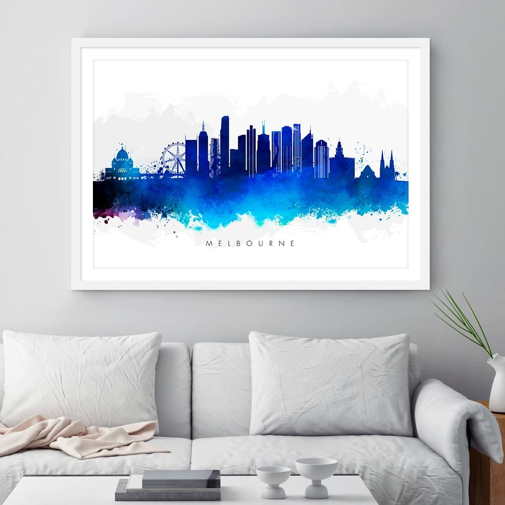 melbourne skyline blue watercolor framed