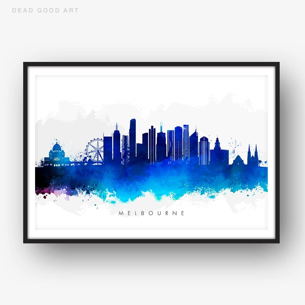 melbourne skyline blue watercolor print
