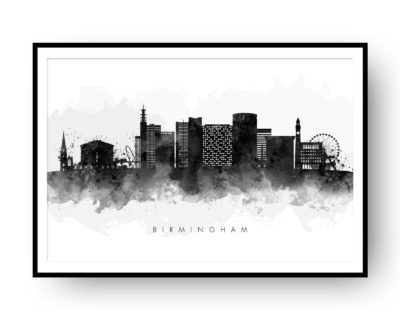 birmingham uk skyline, black and white watercolour print