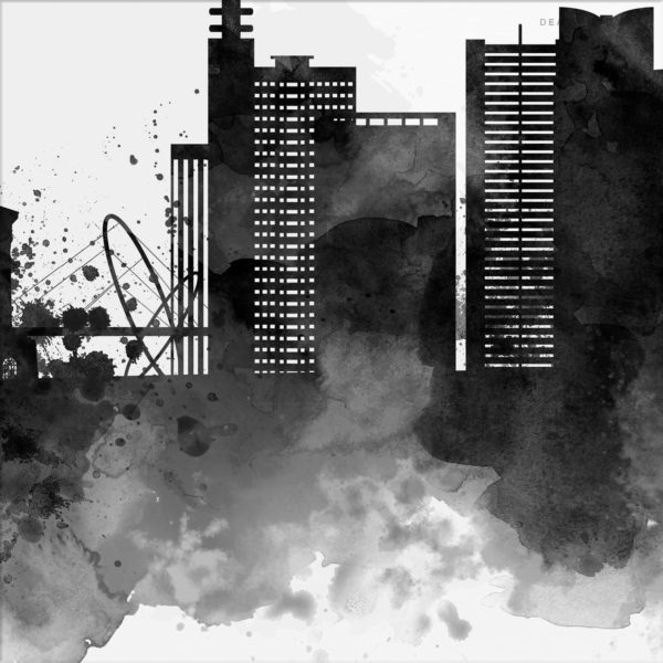 Birmingham UK Skyline, Black & White Watercolor Print Detail