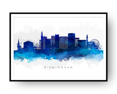 Birmingham UK Skyline Blue Watercolor Print