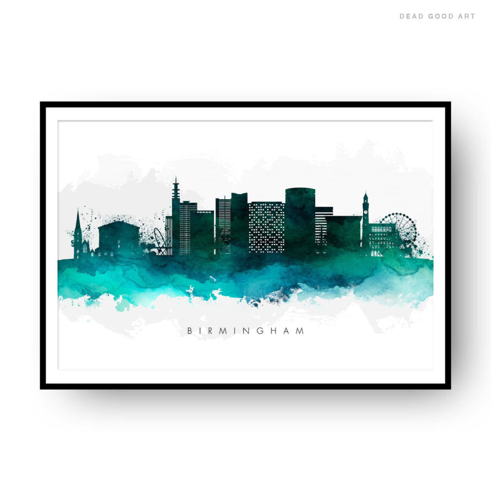Birmingham UK Skyline Green Watercolor Print