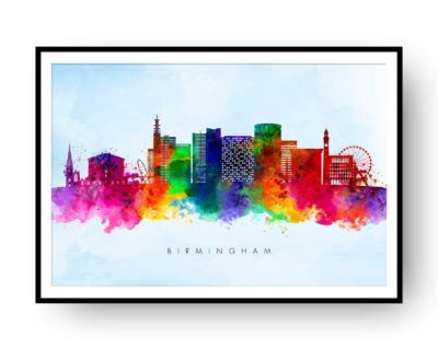 Birmingham UK Skyline Multi Color on Blue Watercolor Print