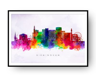 Birmingham UK Skyline Multi Color on Purple Watercolor Print