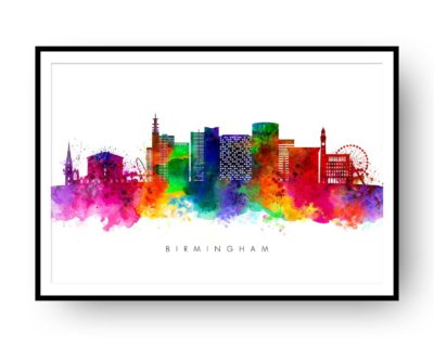 Birmingham UK Skyline Multi Color Watercolor Print