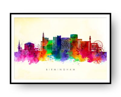 Birmingham UK Skyline Multi Color on Yellow Watercolor Print