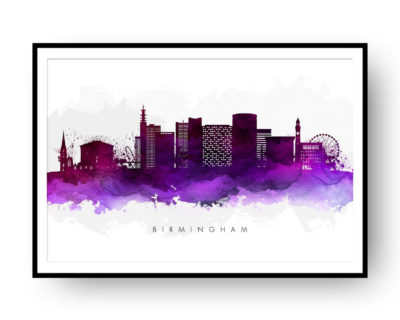 Birmingham UK Skyline Purple Watercolor Print