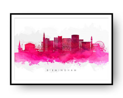 Birmingham UK Skyline Red Watercolor Print Detail