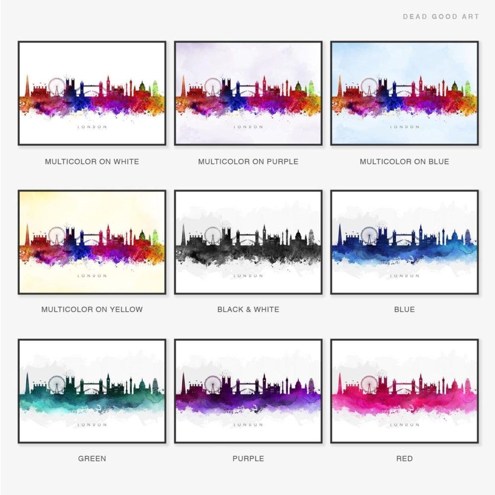City Skyline, Watercolor Print Colour Variations