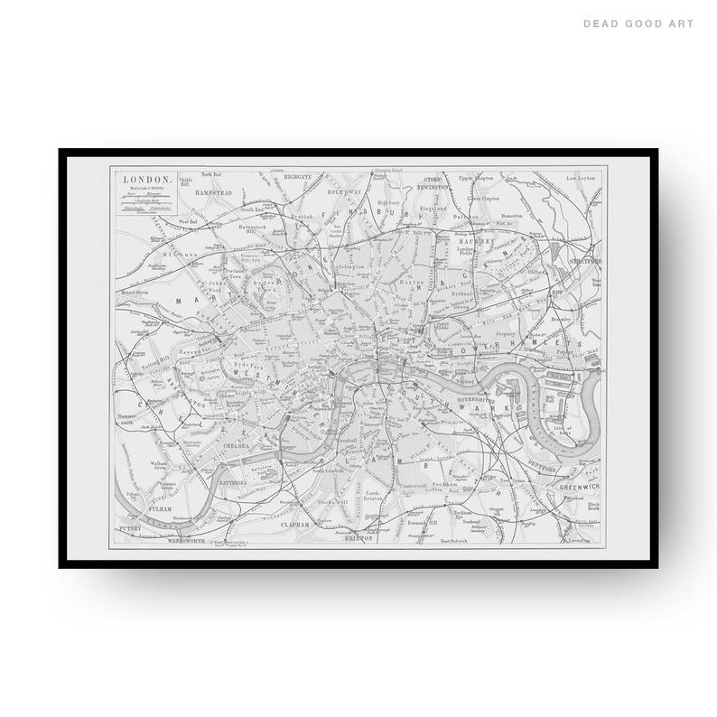 London Vintage Street Map Cartography Black Print