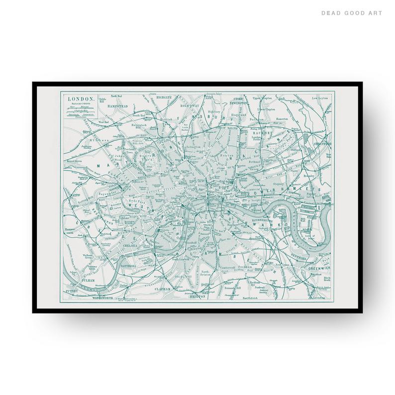 London Vintage Street Map Cartography Green Print