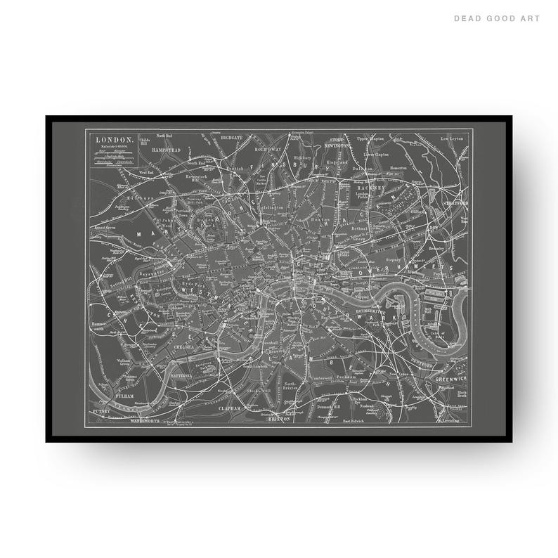London Vintage Street Map Cartography Grey Background Print