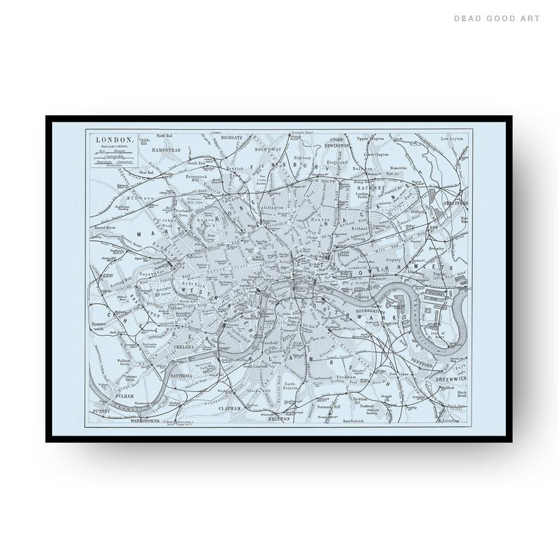London Vintage Street Map Cartography Light Blue Background Print