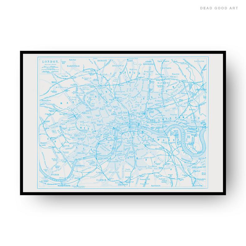 London Vintage Street Map Cartography Light Blue Print