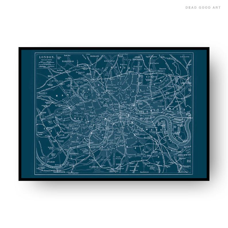 London Vintage Street Map Cartography Navy Blue Background Print