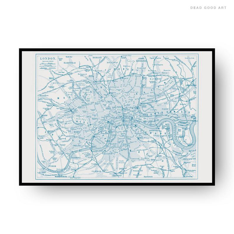 London Vintage Street Map Cartography Navy Blue Print