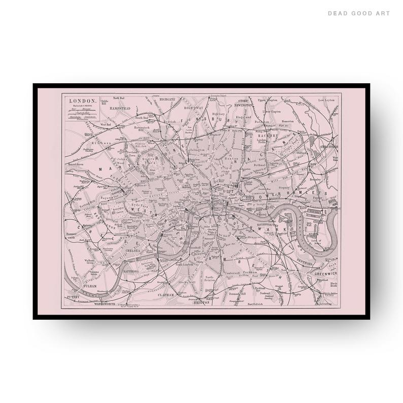 London Vintage Street Map Cartography Pink Background Print