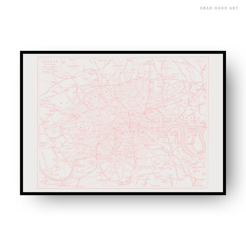 London Vintage Street Map Cartography Pink Print